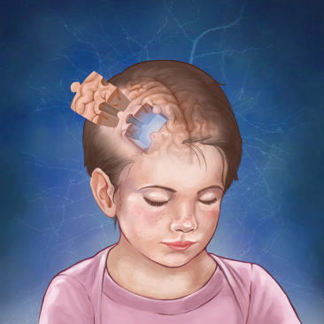 Drawing for a journal cover contest. A visual representation of making new discoveries about how the brain works in the field of child development. <i>Adobe Photoshop
