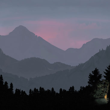 Mountains at dusk with a campfire. Inspired by landscapes in Colorado. <i>Adobe Photoshop